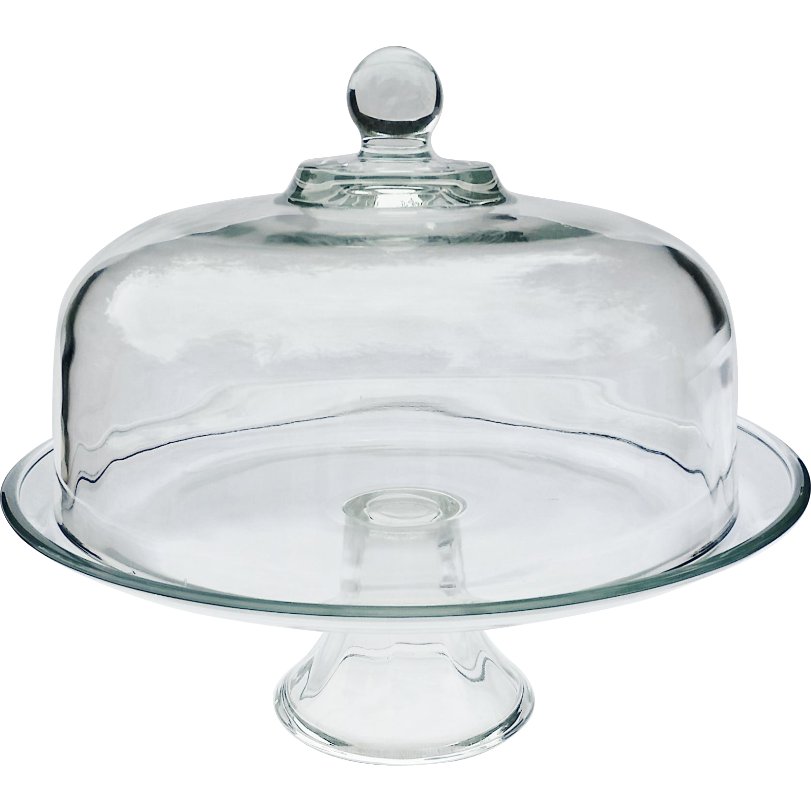 Vintage Heavy Glass Pastry Cake Stand w Dome Top