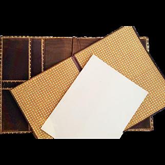 Vintage Italian Gilt Tooled Leather Portfolio Writing Pad Signed S. Luti Firenze