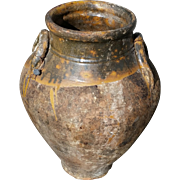 Antique Glazed Earthenware Double Handled Urn