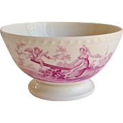 Early 19thC English Bone China bowl Printed Puce