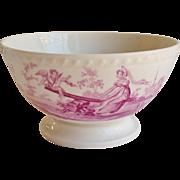 Early 19thC English Bone China bowl Printed Puce
