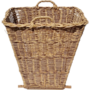 Vintage French Willow Gathering Harvest Basket