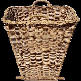 Vintage French Willow Gathering Harvest Basket