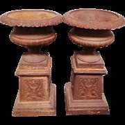 Pair of Cast Iron Garden Urns on Stands