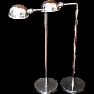 Pair Vintage Articulating Chrome Floor Lamps Adjustable Height