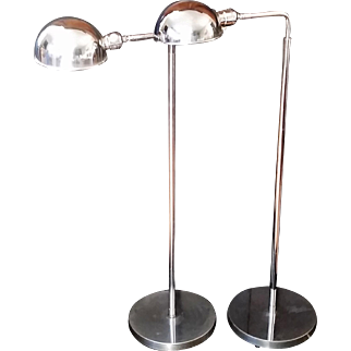 Pair Vintage Articulating Chrome Floor Lamps Adjustable Height