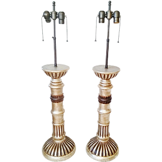 Pair Italian Carved Silver Gilt Lamps