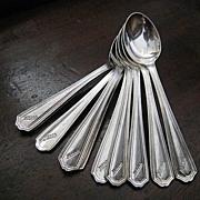 Hotel Silver set of 10 Deco Demitasse Spoons