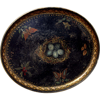 19th C Hand-Painted Tole Tray Robin's Eggs Bird's Nest