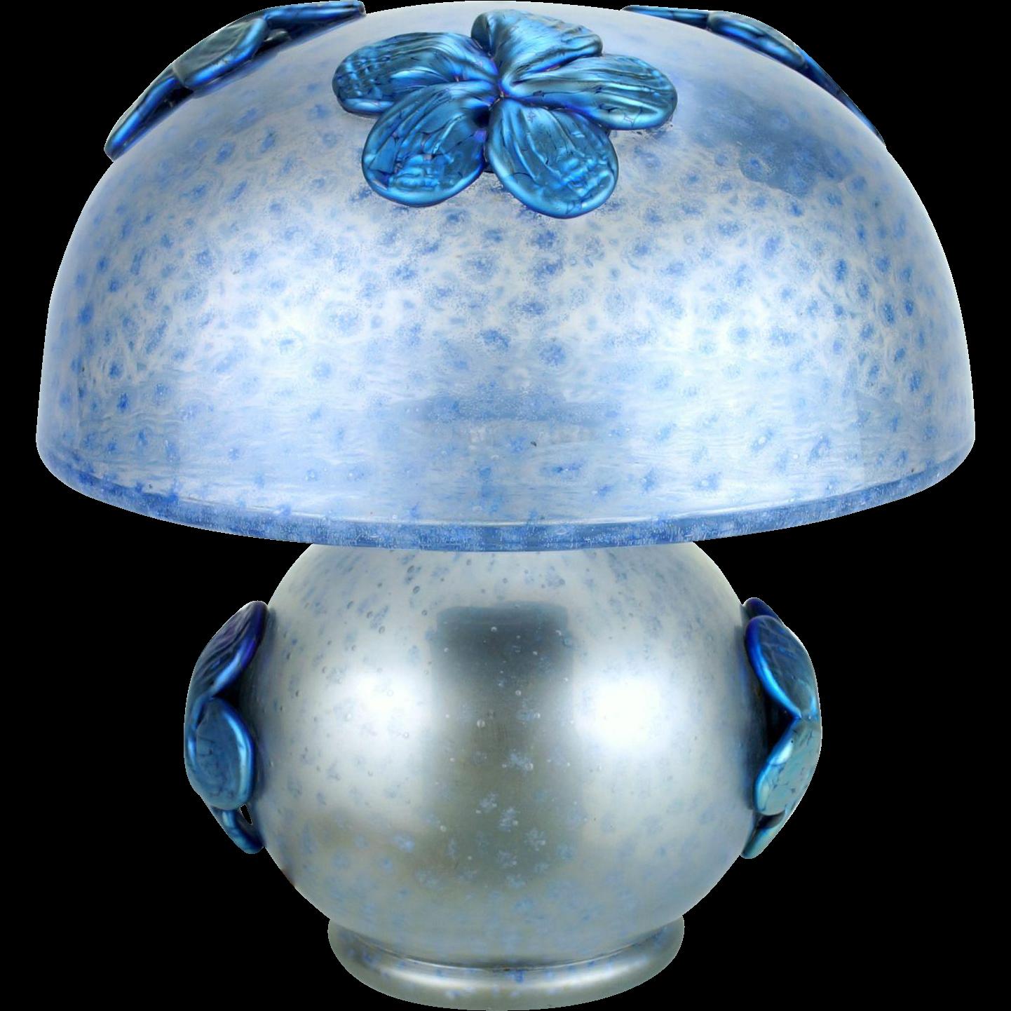 Loetz Deco Period lamp with applied blue Papillon flowers