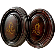 Antique French Wood Curtain Tiebacks or Drapery Finials with Gilt Monogram