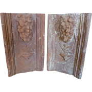 Antique Set of Two French Terracotta Garden Tiles Garden Borders Edging with Cluster of Grapes and Bird
