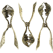 Antique French Silver Plate Escargot Servers Tongs Uncommon Design Vineyard Theme