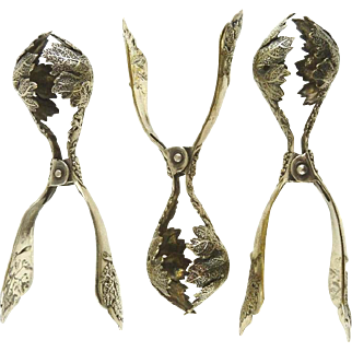 Antique French Silver Plate Escargot Servers Tongs Uncommon Design Vineyard Theme