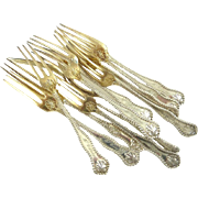 Sterling Silver Strawberry Forks with Gold Wash Set of Twelve Dominick & Haff's Charles II