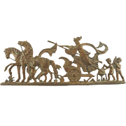 Antique Architectural Element Plaque Mount Trim or Hardware Featuring Chariots, Horses Cherubs, Putti
