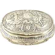 Antique Silver Table Snuff Box with Gilt Interior by George Roth