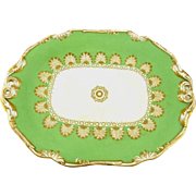 Antique Pearlware Dessert Bowl Stand by Wedgwood Apple Green Gilt