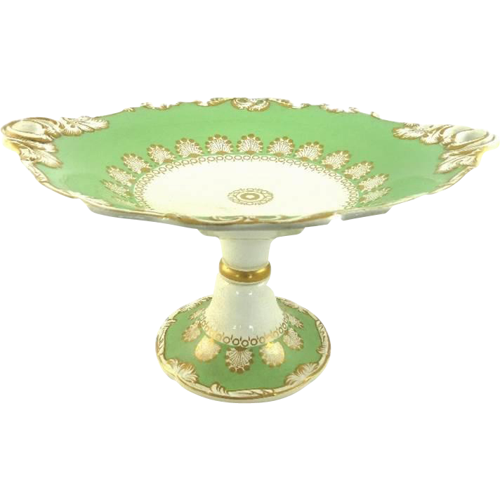 Antique Pearlware Compote Tazza Dessert Stand by Wedgwood Apple Green Gilt
