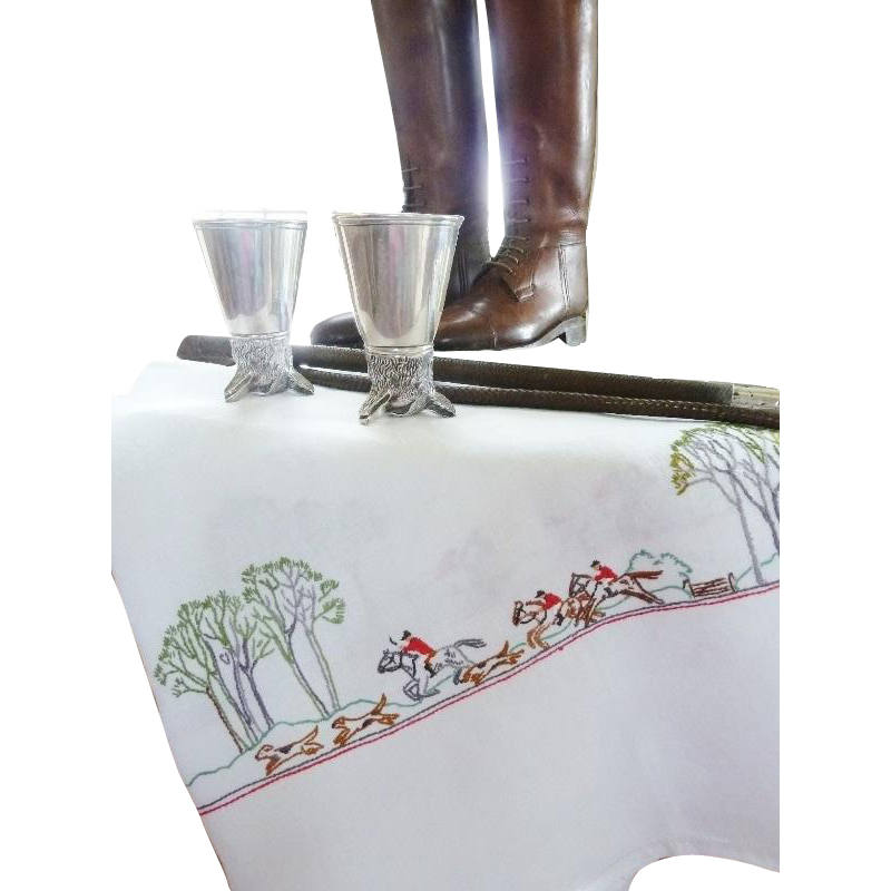 Vintage Linen Tablecloth With Hand Embroidery Fox Hunting