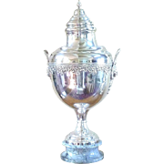 "Antique Silver Loving Trophy Cup or Urn with Lid on Marble Plinth 31"" Tall"