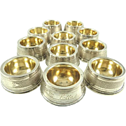 Coin Silver Salt Cellars with Gilt Lining Circa 1880 12 Available
