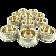 Coin Silver Salt Cellars with Gilt Lining Circa 1880 12 Available