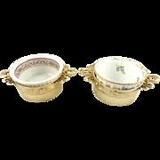 Antique French Silver Vermeil & Porcelain Ramekins Set of Two