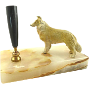 Vintage Onyx Pen Holder with Collie Desk Accessory