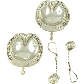 Antique English Sterling Silver Figural Salts with Salt Spoons Horseshoe Shaped Crops & Riding Helmet