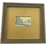 Vintage Miniature Watercolor Landscape Framed and Signed