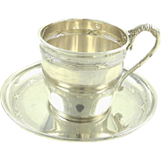 Antique French Sterling Silver Demitasse Cup and Saucer
