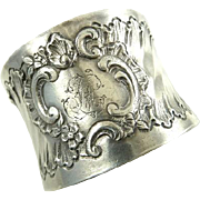 Antique French Silver Napkin Ring Rococo Details