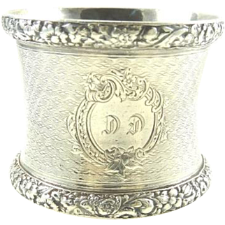 Antique French Silver Napkin Ring Monogrammed DP Beautiful Details