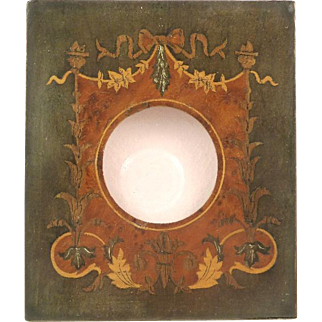 Antique French Marquetry Inlay Wood Picture Frame Bows Ribbons Torches Napoleon III Period