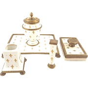 Antique French Bronze & Porcelain Desk Set with Gilt Fleur de Lis Decoration Inkwell & Seal 4 Piece Set