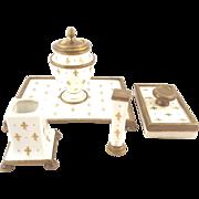 Antique French Bronze & Porcelain Desk Set with Gilt Fleur de Lis Decoration Inkwell & Seal 4 Piece Set