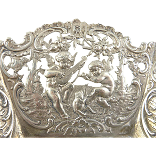 Antique Silver Bowl Panels of Pierced Work Featuring Putti Musical Instruments Nature