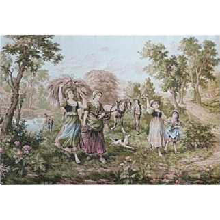 Large Vintage Tapestry French Country Peasant Scene Children Dogs & Horse