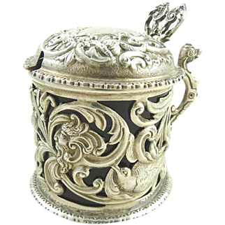 Antique English Sterling Silver & Cobalt Mustard Pot by William Comyns & Sons, 1891
