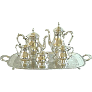 Sterling Silver Tea Coffee Service 5 Piece Set Prelude Pattern by International with Silver Plate Tray