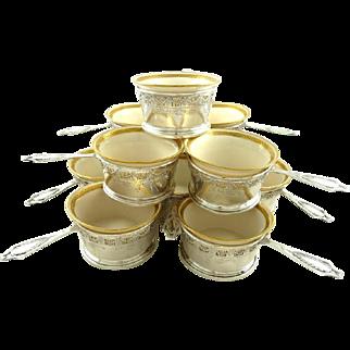 Antique Sterling Silver Ramekins & Porcelain Cups Set of Twelve