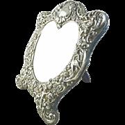 Antique Black Starr & Frost Heart Shaped Sterling Silver Dressing Mirror Easel Back