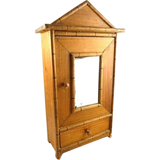 Vintage French Faux Bamboo Salesman Sample Doll Armoire with Mirror