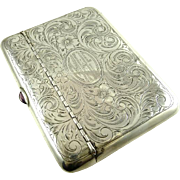 Antique Sterling Silver Money Card Case Edwardian Era Engraved Floral Work