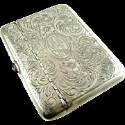 Antique Sterling Silver Money Card Case Edwardian Era Engraved Floral Work