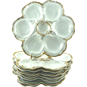 "Vintage Oyster Plates Limoges France Set of Eight 10"" White with Gilt Trim"