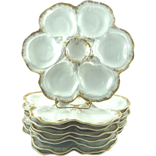 """Vintage Oyster Plates Limoges France Set of Eight 10"""" White with Gilt Trim"""
