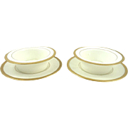 Set of Two Porcelain Ramekins & Plates Royal Doulton White with Raised Gilt Border C 1910