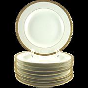 Limoges Rimmed Soup Bowls Set of Eight White with Raised Gilt Border Cornonet France French Porcelain
